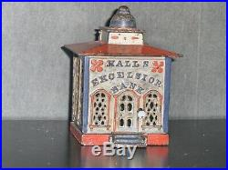 1869 USA J & E STEVENS Hall's Cast Iron Excelsior Bank In Original White, Nice