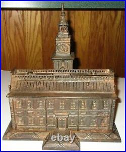 1875 Cast Iron Still Bank Independence Hall Philadelphia, Pa Enterprise Mfg Co