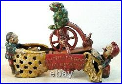 1875 Patent J & E Stevens Cast Iron Bank Professor Pug Frog Great Bicycle Feat