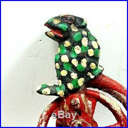 1875 Patent Stevens Co J& E Cast Iron Bank Professor Pug Frog Great Bicycle