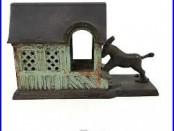 1880 Antique Mechanical Cast Iron Bank Donkey Mule Entering Barn