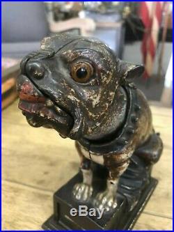 1880 Bull Dog Antique Original J&E Stevens Cast Iron Mechanical Bank