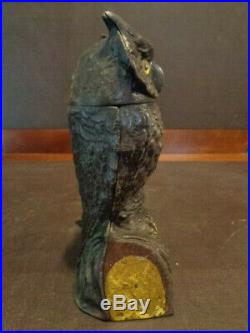 1880s Antique Cast Iron Owl Mechanical Bank by J & E Stevens orginal paint