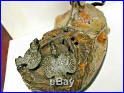 1880s J&E Stevens Mechanical Eagle and Eaglets Chics Cast Iron Bank Painted C8+