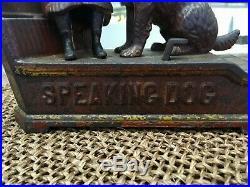 1885 Original Speaking Dog Mechanical Cast Iron Bank