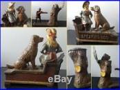 1885 ca. SPEAKING DOG and 1907 ca. TEDDY & BEAR2 ORIGINAL C. I. Mechanical Banks
