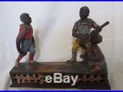 1888 Dark Town Battery Cast Iron Baseball Mechanical Bank J E Stevens Co