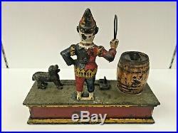 1888 Trick Dog Original Antique Hubley Cast Iron Mechanical Bank
