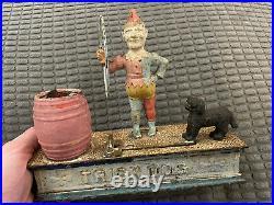 1888 Trick Dog Original Hubley Cast Iron Mechanical Bank Cast Bank Money Bank