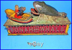 1890 Antique Shepard Cast Iron Jonah and the Whale Mechanical Bank Wonderful