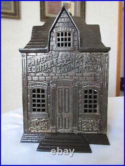 1890s Large Cast Iron Home Savings coin bank withcoin insert wood dividers Dayton