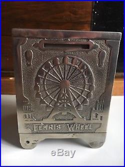 1893 WHITE CITY PUZZLE SAFE No. 12 CHICAGO WORLD'S FAIR BANK EXPO CAST IRON