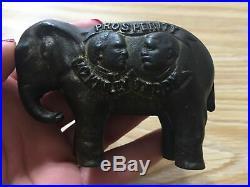 1900 McKINLEY &TEDDY. PROSPERITY Elephant Original Cast Iron Still Bank rare