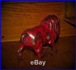 1910 -1920 Antique Vtg Hubley Red Lion Cast Iron Toy Still Penny Bank NR