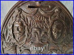 1910 Royal Bank Cast Iron Still Bank King George V Chamberlin & Hill England