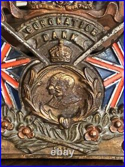 1911 Antique Original Cast Iron Bank England Coronation George V Syndenham