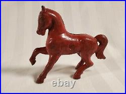 1920's A. C. Williams Cast Iron Horse Pony Still Coin Bank Original Red Paint