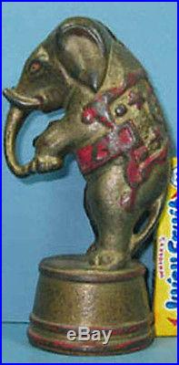 1920's CIRCUS ELEPHANT ON TUB CAST IRON BANK AUTHENTIC & OLD ON SALE CI 752