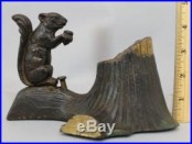 19thC Antique 1881 Novelty Works SQUIRREL & TREE STUMP Cast Iron Mechanical Bank