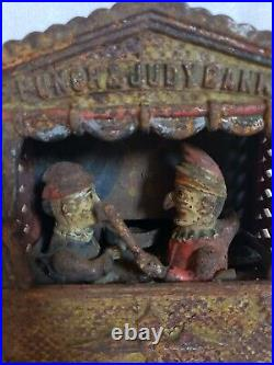 19thC Antique Punch and Judy Cast Iron Mechanical Bank, Shepard Hardware Co