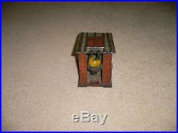 19th C J E Stevens Black Americana Cast Iron Man in Cabin Mechanical Coin Bank