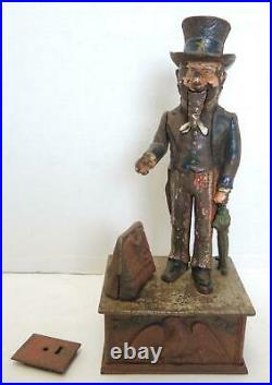 19th Century Antique Uncle Sam Cast Iron Mechanical Coin Bank