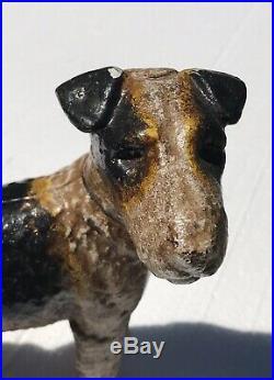 20th C Antique Hubley Wire Hair Fox Terrier Cast Iron Doorstop / Coin Bank