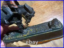 2 Qty Antique novelty cast iron money Banks I always did spise the mule Original
