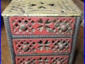 AAFA Rare Cast Iron Still Bank Chest with drawers Heart Motif Original Paint