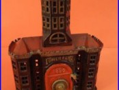 ALL ORIGINAL ANTIQUE 1890 TOWER BANK CAST IRON BUILDING with SAFE KEYSER & REX