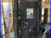 AMAZING 1900s BANK VAULT DOOR CAST IRON TRIM COMPLETE