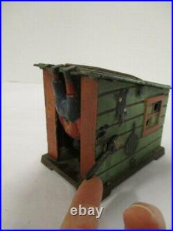 ANTIQUE All Original J. E. Stevens Cast Iron Mechanical Cabin Bank Working