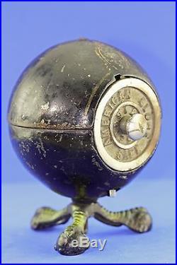 Antique Cast Iron American Globe Communication Safe Bank