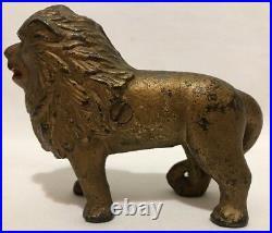 ANTIQUE CAST IRON LION BANK Circa 1900 Strong Details Original Gold Paint 5