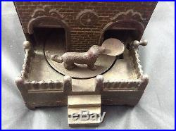 Antique Cast Iron Mechanical Bank With Dog