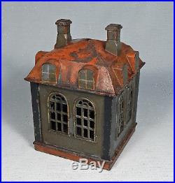 ANTIQUE CAST IRON NOVELTY BUILDING MECHANICAL BANK J. E. STEVENS Ca 1873