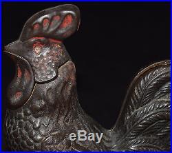 Antique Cast Iron Rooster Cock Mechanical Bank Kyser Rex 1880 Original