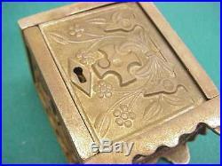 ANTIQUE CAST IRON STILL COIN BANK No 50 KEY LOCK SAFE J&E STEVENS CO