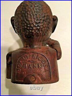 ANTIQUE / TRUE VINTAGE 1800s CAST IRON MECHANICAL JOLLY NIGGER BANK