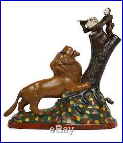 ANTIQUE / VINTAGE CAST IRON MECHANICAL LION AND 2 MONKEY Money bank money box