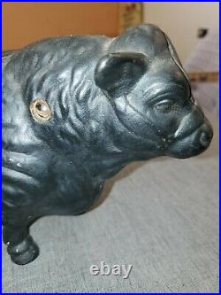 ANTIQUE VINTAGE Heavy Duty Cast Iron Black BULL Coin Piggy Bank Door Stop 11