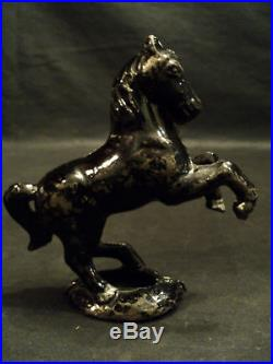 AWESOME ANTIQUE CAST IRON HORSE STILL BANK, c. 1900