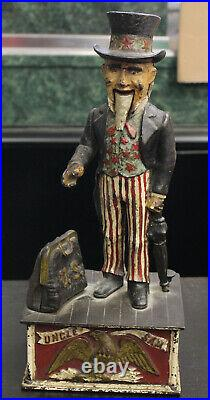 A 19th Century Uncle Sam Cast Iron Bank from Shepherd Hardware Co. With Issues