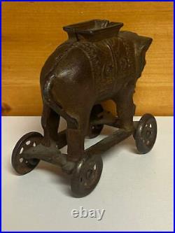 A. C. Williams 1900's VTG Saddled Elephant Bank on Wheels FREE SHIPPING