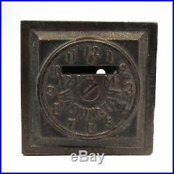 A Washington World Clocks Still Bank, C 1890 Antique cast iron