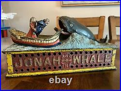Antique19th C. ORIGINAL CAST IRON JONAH and THE WHALE MECHANICAL BANK 1890