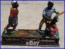 Antique 100% Original Baseball Darktown Cast Iron Mechanical Battery Bank 1880s