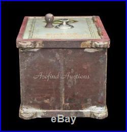 Antique 1800's WARDS Cast Iron Miniature Home Security Safe Deposit Bank Vault