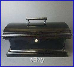Antique 1800s Cast Iron Decorative Strongbox Old West Stagecoach Bank Safe