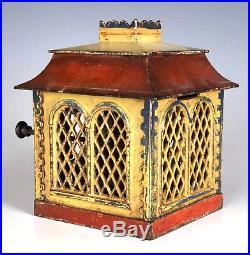 Antique 1872 Home Bank Cast Iron Mechanical Bank With Cashier J. & E. Stevens & Co
